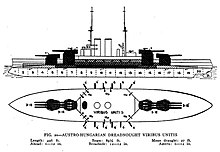 Schematics for this type of battleship; the ships mount four gun turrets, two forward and two aft
