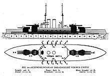 Schemi per questo tipo di corazzata;  le navi montano quattro torrette, due a prua e due a poppa