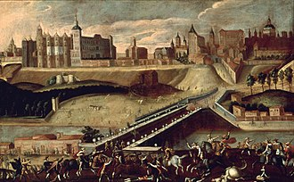 Madrid - Madrid from the exit of the Puente de Segovia. Painting of 1560. The alcázar can be seen on the left.