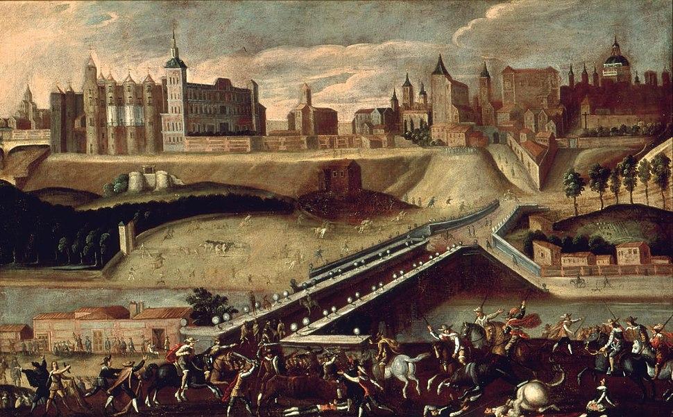 Vista de Madrid desde la salida del puente de Segovia con toros desmandados (Museo de Historia de Madrid)