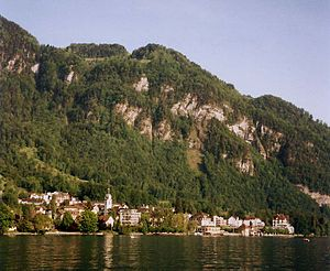 Vitznau - Vitznau seen from across Lake Lucerne, nested under a shoulder of the Rigi.