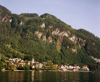 Vitznau - Vitznau seen from across Lake Lucerne, nested under a shoulder of the Rigi.