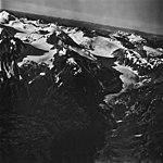 Volcanic Peak, valley glacier terminus, hanging glaciers and icefield, September 12, 1973 (GLACIERS 5962).jpg