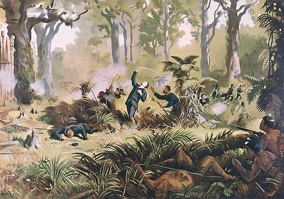 The Armed Constabulary ambushed by Titokowaru's forces at Te Ngutu o Te Manu Von Tempsky's death Kennett Watkins.jpg