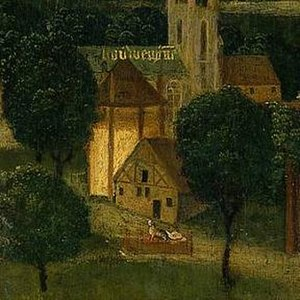 Beatrix de Rijke - Detail of the St Elizabeth's Day Flood, 18–19 November 1421, altar piece by Master of the St Elizabeth Panels, c.1490