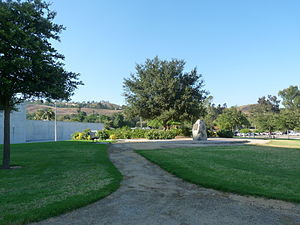Jerry Voorhis - Voorhis Park, Cal Poly Pomona, containing a stone from the Voorhis School campus