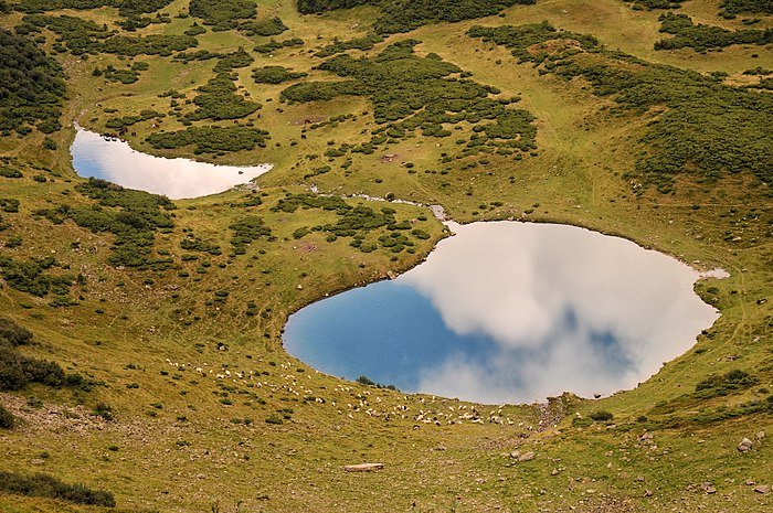 Lake Vorozheske (hydrological natural monument), located in Svydovets mountain range of the Ukrainian Carpathians