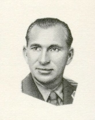 Pavel Belyayev - Portrait of Belyaev from a 1965 Soviet post stamp