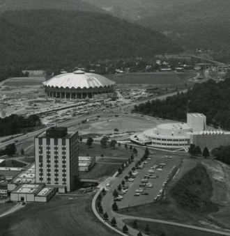 WVU Coliseum - WVU's Evansdale campus around 1970 just after the construction of the coliseum.