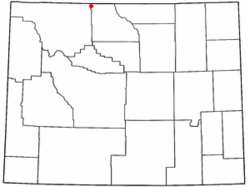 Location of Frannie, Wyoming