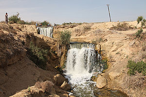 Wadi El Rayan - Waterfalls between upper and lower lakes in the Wadi el-Raiyan (Wadi el-Rayyan), Egypt