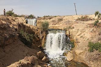 Wadi El Rayan - Waterfalls between upper and lower lakes in the Wadi el-Raiyan (Wadi el-Rayyan), Egypt