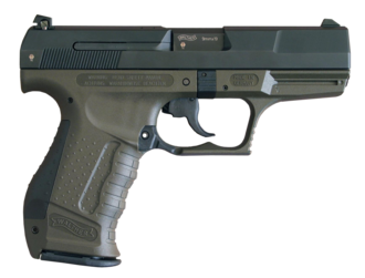 Walther P99 - A first-generation 9mm version, with a green polymer frame.