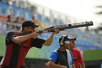 Shooting - Glenn Eller shooting at 2008 Summer Olympics double trap finals.