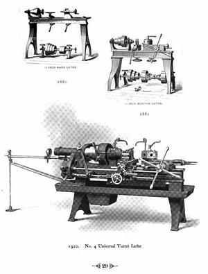 Warner & Swasey Company - A selection of turret lathe models between 1880 and 1920.