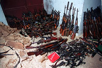 April 23, 1998 Albanian–Yugoslav border ambush - A sample of weapons confiscated from the KLA, July 1999