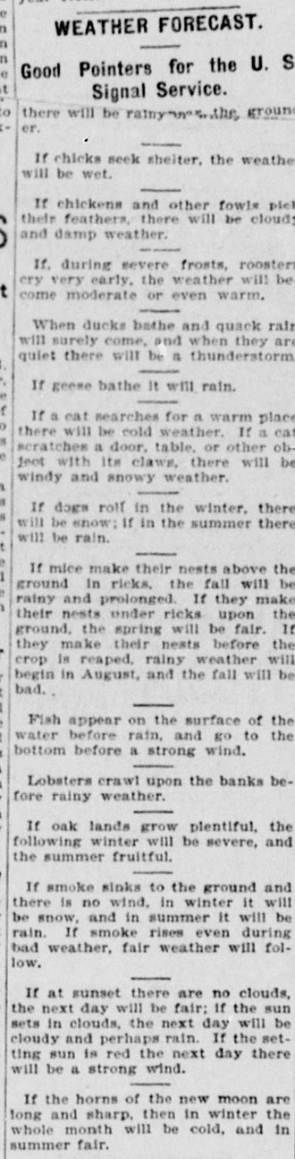 Weather lore - Various instances of weather lore from 1899