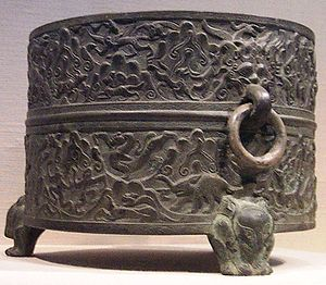 History of the Han dynasty - A Western Han bronze wine warmer with cast and incised decoration, from Shanxi or Henan province, 1st century BCE