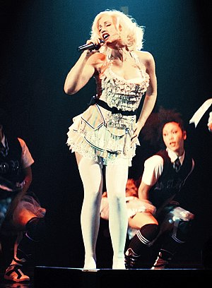 "Love. Angel. Music. Baby. - Stefani performing ""What You Waiting For?"" on the Harajuku Lovers Tour in 2005"