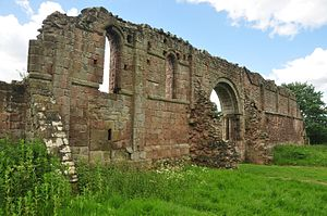 White Ladies Priory - The substantial remains of the north wall.