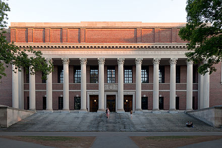 Widener Library anchors the Harvard Library system. Widener Library.jpg
