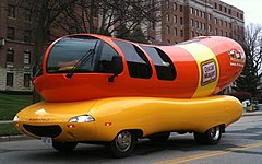 Wienermobile on oscar meyer weiner truck