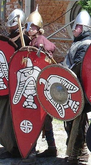 Boreyko coat of arms - White swastika painted on Viking shields (historical re-enactment, Bielsko-Biała, Poland)
