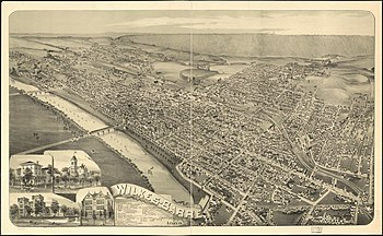 An old bird-eye map (circa 1889) for Wilkes-Ba...