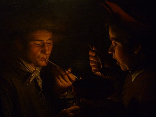 Willem van der Vliet - A Man Smoking and Another Man Eating by Candlelight (1624)