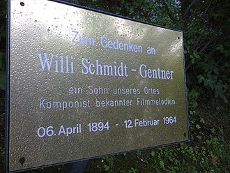 Willy Schmidt-Gentner - Memorial plaque for the filmmusic composer Genter in Neustadt am Rennsteig