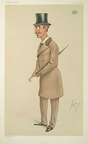 "Windham Wyndham-Quin, 4th Earl of Dunraven and Mount-Earl - ""Active"". Caricature of Lord Dunraven by Ape published in Vanity Fair in 1878."