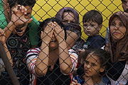 Women and children among Syrian refugees striking at the platform of Budapest Keleti railway station. Refugee crisis. Budapest, Hungary, Central Europe, 4 September 2015. (3).jpg