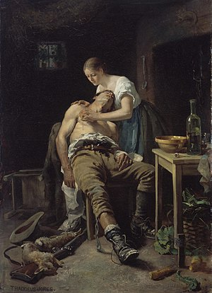 Irish National Land League - The Irish painter Henry Jones Thaddeus enlisted the conscience of the propertied classes with the sentimental realism of Le retour du braconnier (The Wounded Poacher), exhibited in the Paris Salon of 1881, at the height of the Irish Land War
