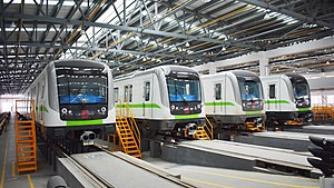 Wuhan Metro Line 4 Rolling Stocks in Bailin Depot.jpg