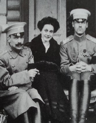 Natalia Brasova - Natalia between Wulfert (left) and Grand Duke Michael Alexandrovich of Russia (right)