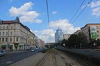Wyzwolenia Avenue in Szczecin, tram track, 2015.jpg