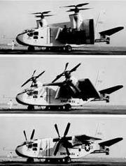 X-18 tilting its wing bw