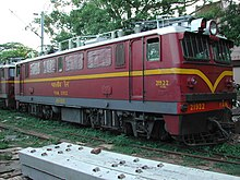 Maroon-and-gold locomotive