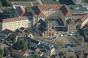 Yzeure - An aerial view of the church and surroundings in Yzeure