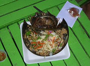 Mangrove horseshoe crab - Yam Khai Maengda. Horseshoe Crab salad at the beachside in Cha-am, Thailand