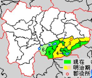 Minamitsuru District, Yamanashi - Historic Map of Minamitsuru District  1. - Dōshi 2. - Nishikatsura 3. - Oshino 4. - Yamnakako 5. - Narusawa 6. - Fujikawaguchiko  yellow - areas formerly within the original district boundaries green - area added later to the original district