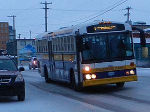 Yellowknife Transit - Bus on 50th Avenue