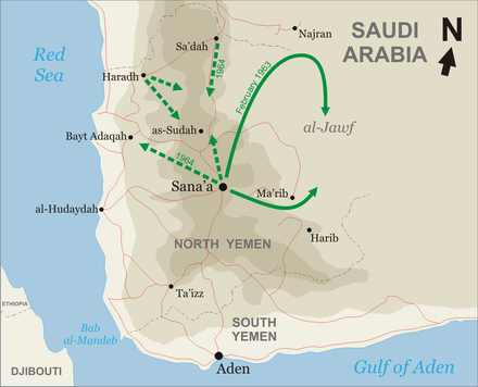 The Ramadan (straight) and Haradh (dotted) offensives Yemencivilwar.png