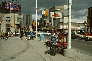 10 Dundas East - The future site of 10 Dundas East, circa 1985, when it was still occupied by a Mr. Submarine restaurant and a video arcade
