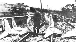 7th Army (Kingdom of Yugoslavia) - Yugoslav obstacles placed across railway tracks near Spielfeld on the Yugoslav–Reich border