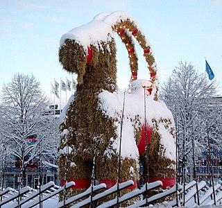 Gävle goat straw Christmas goat in Gävle, Sweden