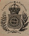 """""""Commissao de Exploracao"""" bookplate, Das Leuchten des meeres - neue beobachtugen nebst ubersicht der hauptomomente der geschichtlichen entwicklung dieses merkwurdigen phanomens (page 1 crop).jpg"""
