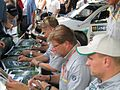 Škoda drivers before the 2004 Rally Finland.jpg