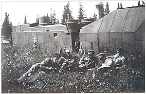 Siberian Army - The crew of a Siberian armored train relax during a stop in the summer of 1919. Propaganda photo of Kolchak's army