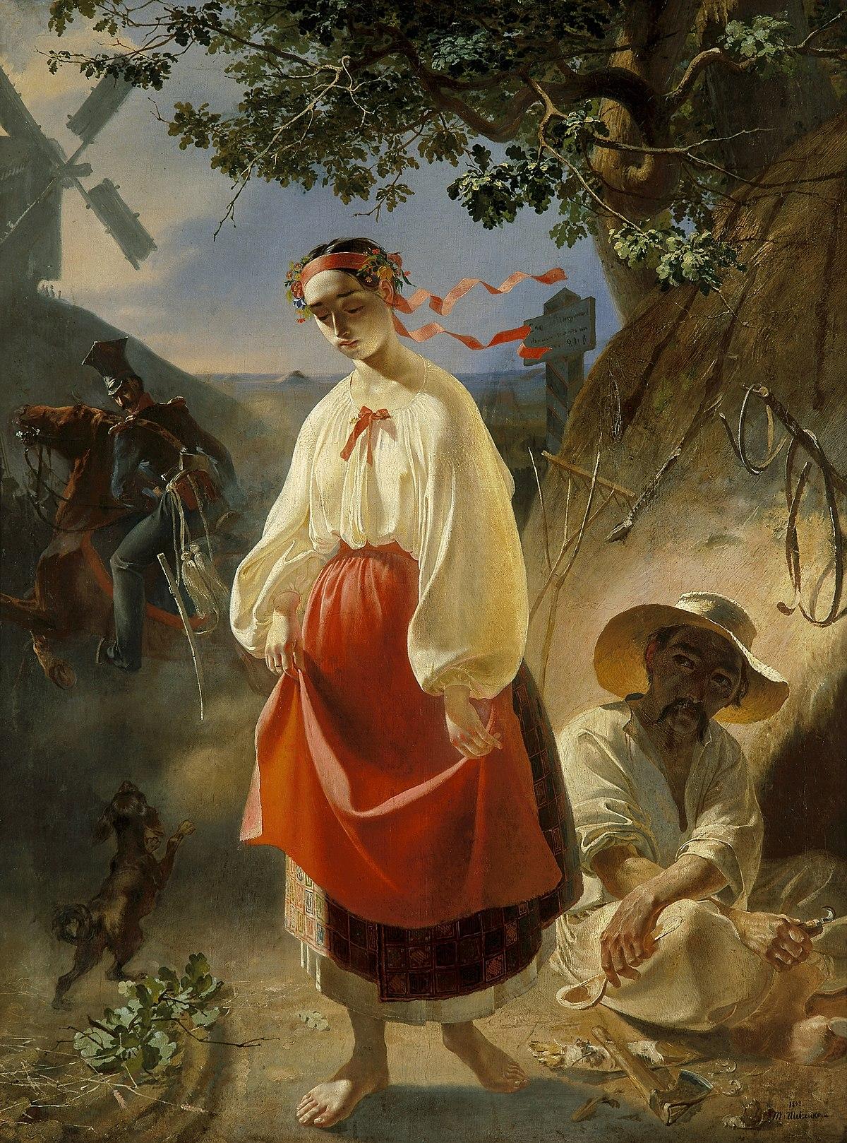 Taras Shevchenko, Kateryna, oil on canvas, 1842.